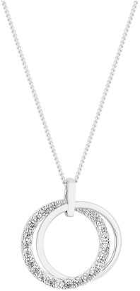 Simply Silver Sterling Silver 925 Polished and CZ Double Open Pendant
