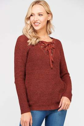Love Tree Lace Up Sweater