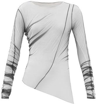 Maison Margiela Asymmetric-hem Tulle Long-sleeved Top - Black