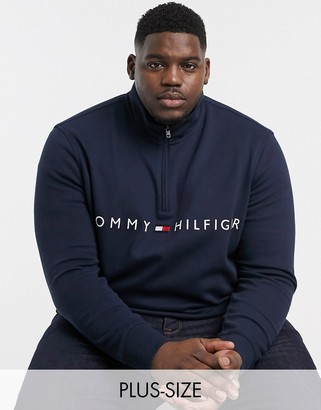 Tommy Hilfiger Big & Tall half zip will sweater in navy