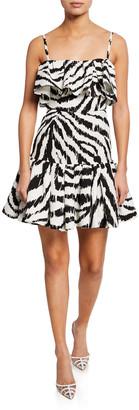 MSGM Zebra-Print Sleeveless Ruffle Dress