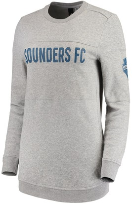 adidas Women's Heathered Gray Seattle Sounders FC Team Dominance Long Sleeve Tunic Sweatshirt