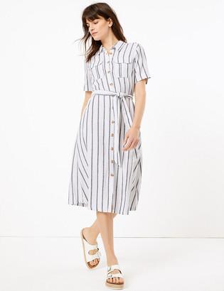 Marks and Spencer Linen Striped Midi Shirt Dress
