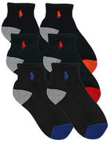 Ralph Lauren White Assorted 6 Pair Pack Athletic Multi Boy Heel/ Toe Quarter Socks