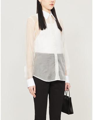 Helmut Lang Logo-printed sheer silk-organza shirt
