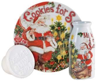 Fitz & Floyd Old World Christmas Milk Cookies Ceramic 3-Piece Cookie Set
