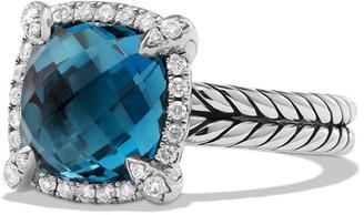 David Yurman 9mm Chatelaine Ring with Diamonds in Blue Topaz