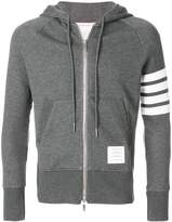 Thom Browne Classic Full Zip Hoodie With Engineered 4-Bar In Classic Loop Back