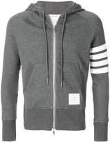 Thom Browne Full Zip Hoodie With Engineered 4-Bar Stripe