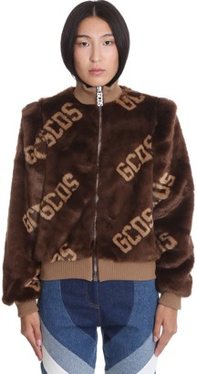 GCDS Bomber In Brown Polyester