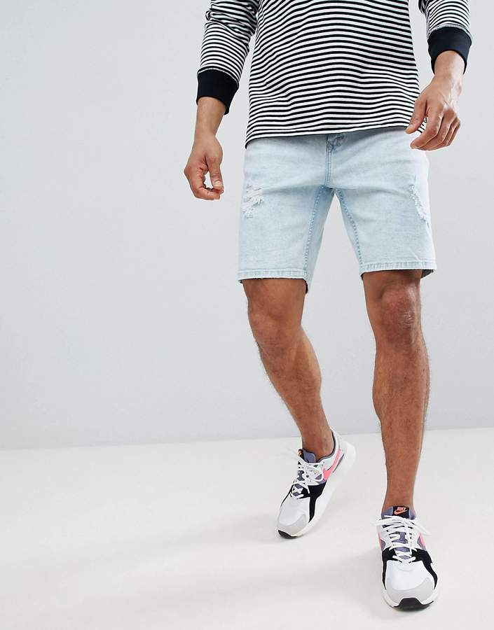 Bershka Slim Fit Denim Shorts In Light Blue With Abrasions