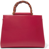 Gucci Nymphaea Bamboo Medium Leather Tote - Red