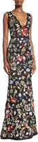 Alice + Olivia Sleeveless Floral Embroidered Satin Gown, Black/Multicolor