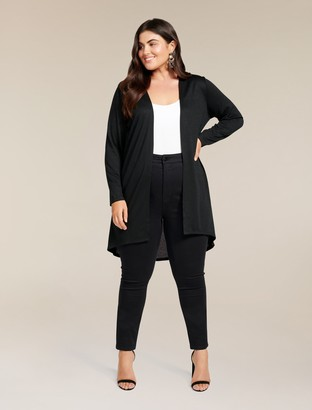 Forever New Taylor Curve High-Low Cardigan - Black - 18