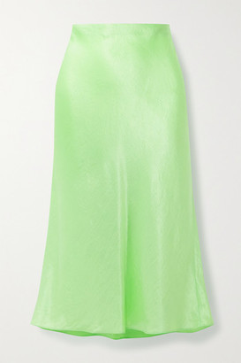Vince Hammered-satin Midi Skirt - Lime green