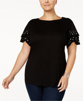 INC International Concepts Anna Sui Loves Plus Size Studded Top, Created for Macy's