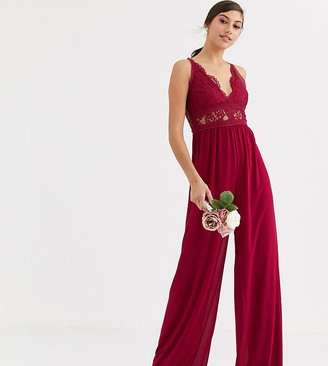TFNC Tall Bridesmaid jumpsuit with lace inserts in mulberry