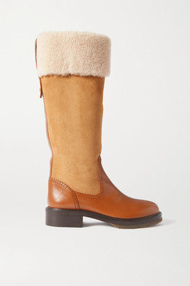 Chloé Shearling-trimmed Suede And Leather Knee Boots - Brown