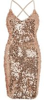 River Island Womens Gold sequin strappy back bodycon dress