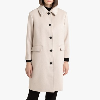 Mid-Length Single-Breasted Coat with Buttons