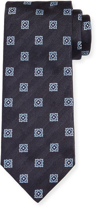 Brioni Men's Medallion Herringbone Tie