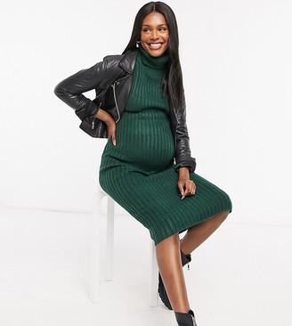 ASOS DESIGN Maternity Midi rib dress with cowl neck