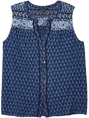 Lucky Brand Sleeveless V-Neck Button-Up Border Print Top (Navy Multi) Women's Clothing