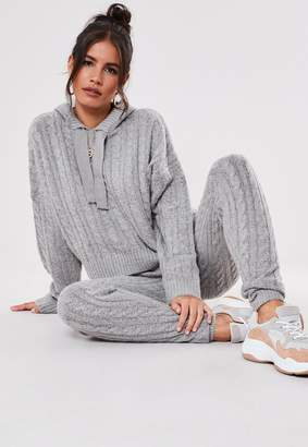 Missguided Premium Grey Co Ord Cable Knit Leggings