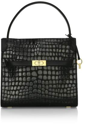 Tory Burch Small Lee Radziwill Croc-Embossed Leather Satchel