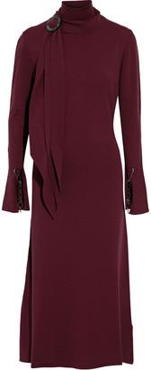 Ellery Emmersion Tie-neck Embellished Stretch-knit Midi Dress