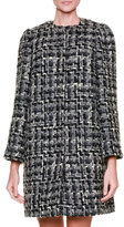 Dolce & Gabbana Snap-Front Tweed Topper Coat, Gray/Black/Multi