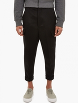Ami Black Wool Carrot-leg Cargo Trousers
