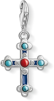 Thomas Sabo Women Charm Pendant Ethnic Cross 925 Sterling Silver 1466-335-7