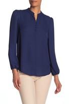 Nanette Lepore Nanette Mandarin Collar Long Sleeve Blouse