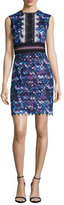 Saloni Trudi Sleeveless Chevron Lace Cocktail Dress, Blue Multicolor