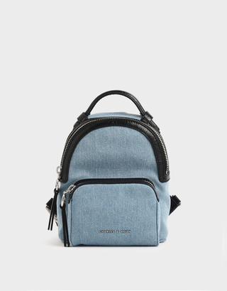 Charles & Keith Textured Double Zip Backpack