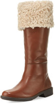 Taryn Rose Avis Mid-Calf Leather Boot with Faux Fur, Tan