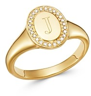 Zoe Lev 14K Yellow Gold Diamond Initial Signet Ring