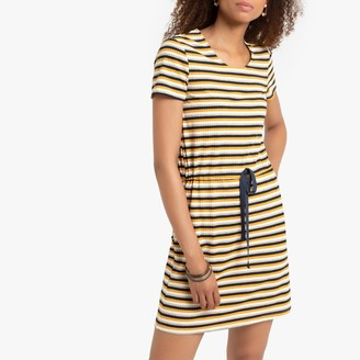 La Redoute Collections Short Striped T-Shirt Dress with Tie-Waist