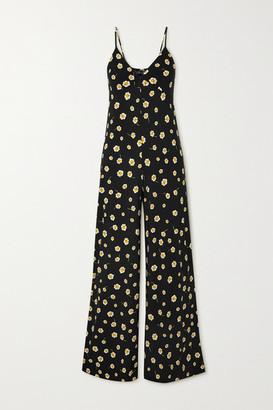 Norma Kamali Floral-print Stretch-jersey Jumpsuit - Black
