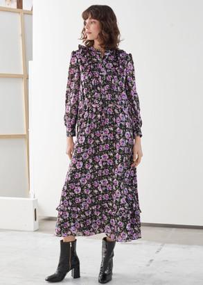 And other stories Printed Ruffle Bib Midi Dress