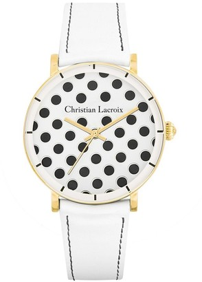 Christian Lacroix Womens Analogue Quartz Watch with Leather Strap CLWE41