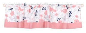 The Peanut Shell The Coral & Navy Floral Print Tailored Window Valance Bedding
