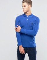 Benetton Long Sleeve Pique Polo Shirt in Muscle Fit