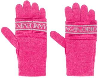 Emporio Armani Logo Print Knit Gloves