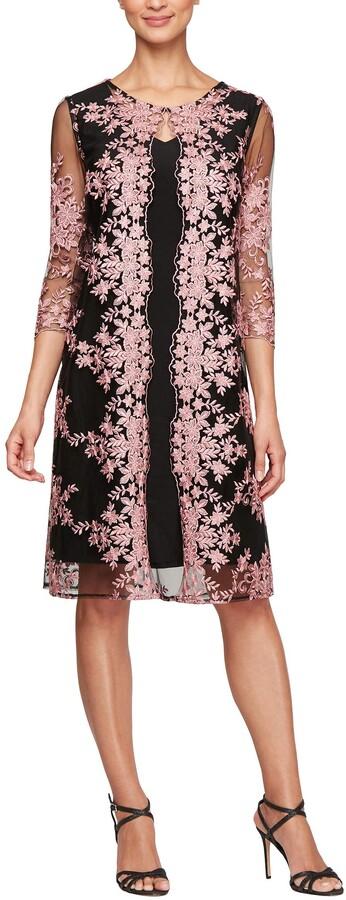 Alex Evenings Womens Tea Length Mock Jacket Dress (Petite and Regular Size)