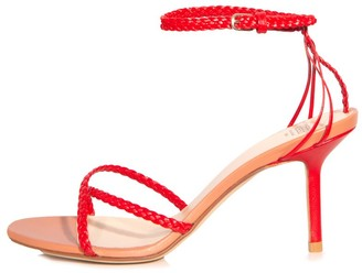Francesco Russo Strappy Ankle Strap Sandal in Red