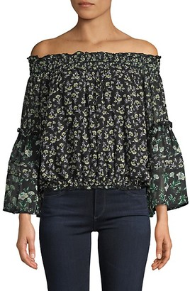 Free People Moody Floral-Print Off-The-Shoulder Top