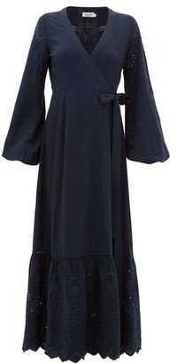 The Upside Kate Broderie-anglaise Wrap Dress - Womens - Navy
