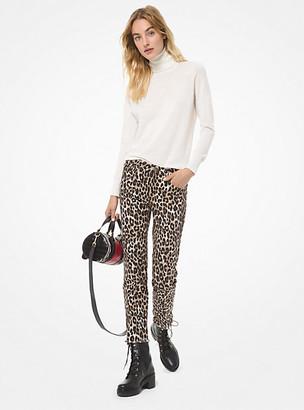 MICHAEL Michael Kors MK Leopard Stretch-Cotton Cropped Jeans - Dark Camel - Michael Kors